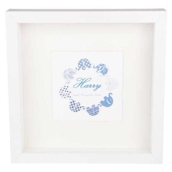 Personalised Elephant Family artwork  blue by LavenderHouseGiftCo