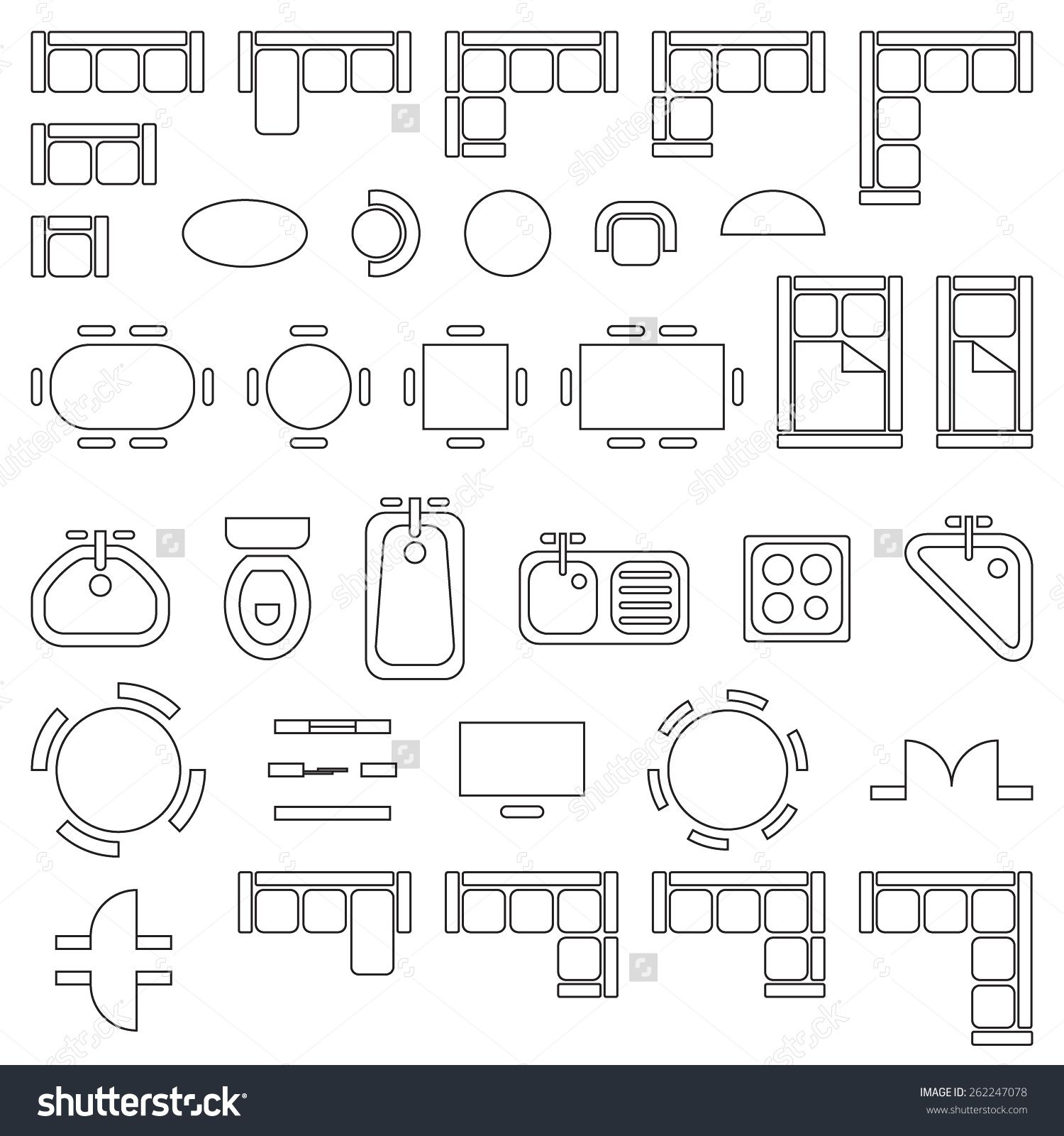 Standard furniture symbols used in architecture plans for Architecture design blueprint