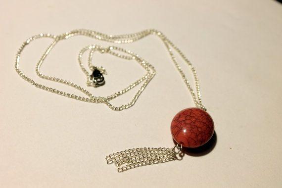 Fringe Chain Pink Stone Necklace #fringe #chain #necklace #stone #wire #indie #boho #bohemian #festival #fashion