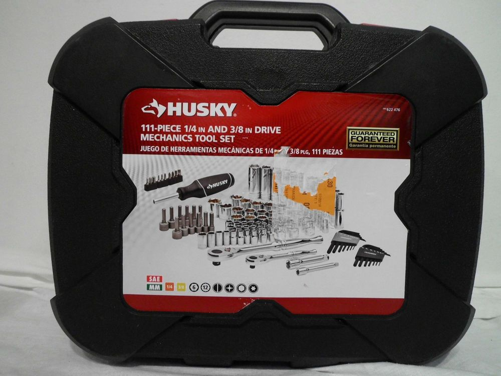Husky 1 4in And 3 8in Drive Mechanics Tool Set 111 Piece Model H111mts Mechanics Tool Set Tool Set Tools