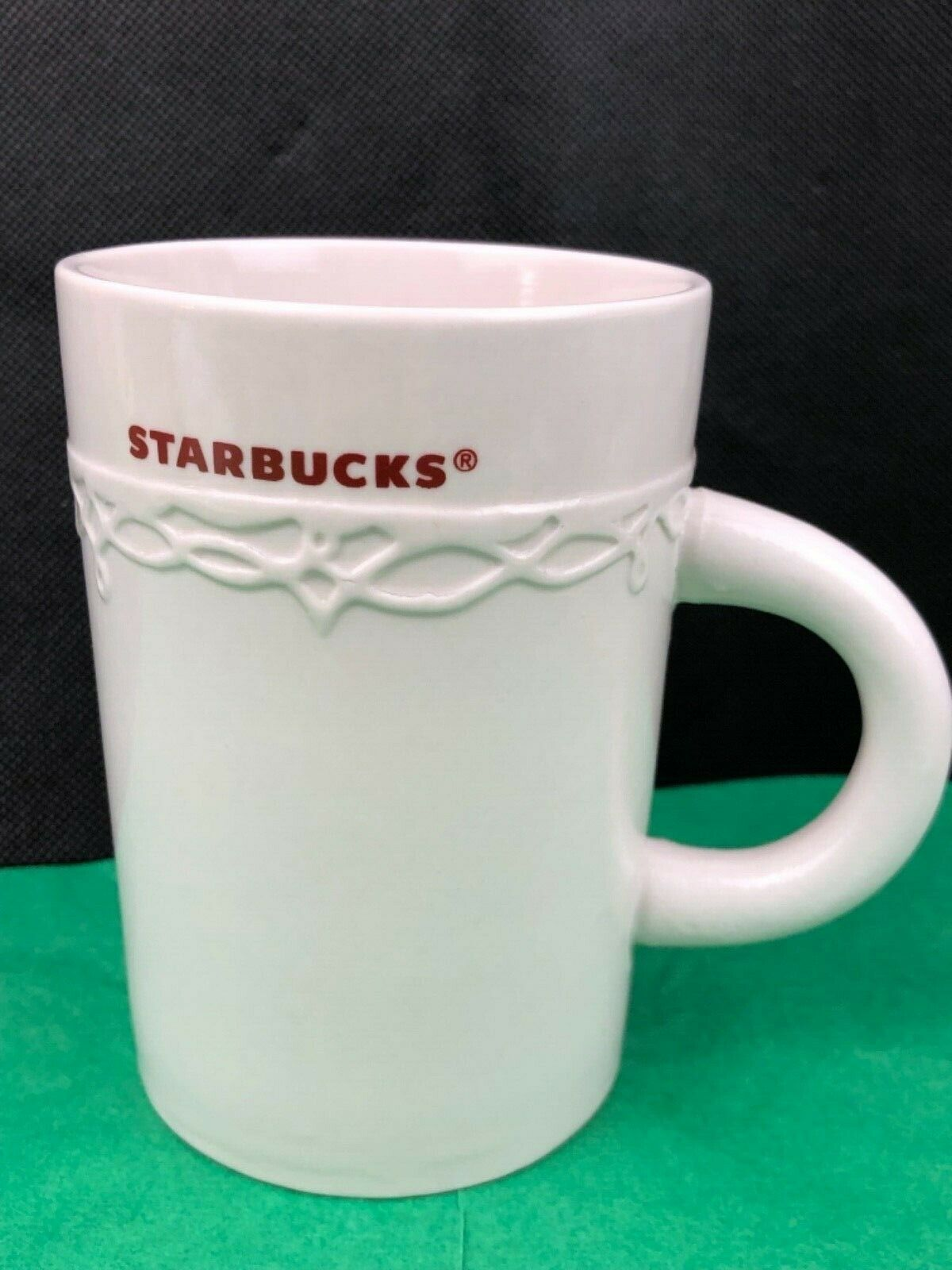 Starbucks 2010 Ceramic Coffee Mug Cup Embossed Design 10 Oz White Ebay Mugs Starbucks Mugs Starbucks