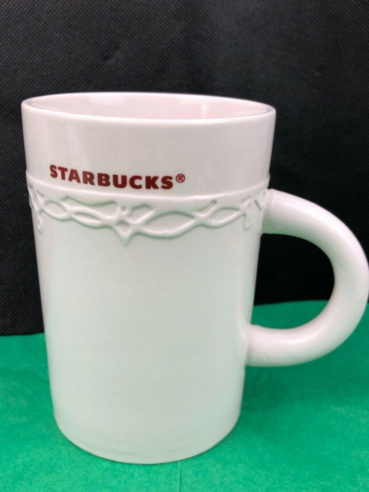 Starbucks 2010 Ceramic Coffee Mug Cup Embossed Design 10 Oz White Ebay Mugs Starbucks Mugs Starbucks