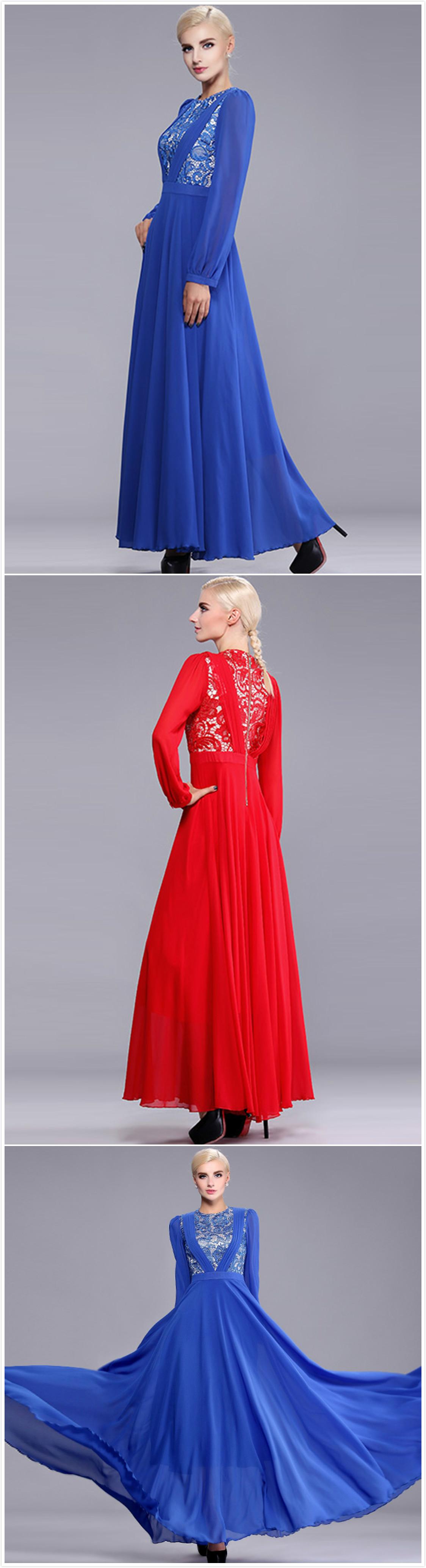 Long sleeve lace chiffon evening prom bridesmaid dress lace prom