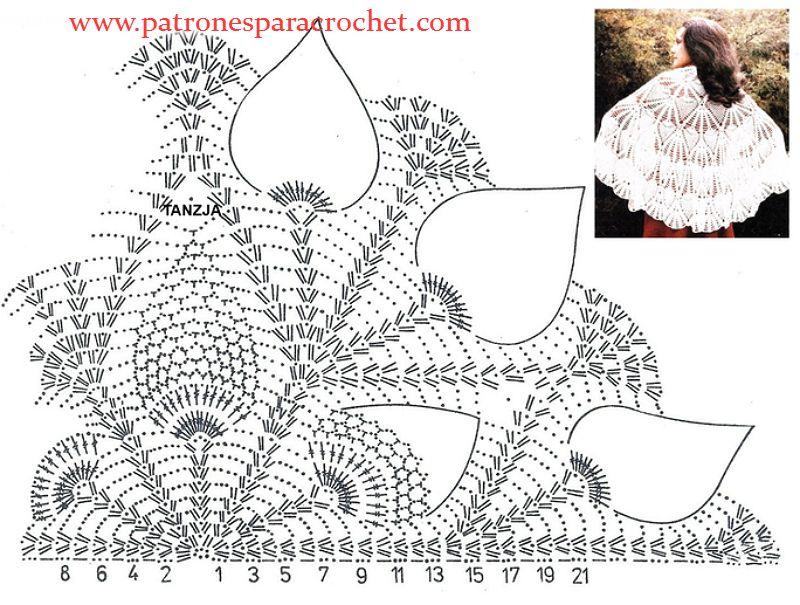patron-chal-crochet.jpg (800×605) | patrón | Pinterest | Cape and ...
