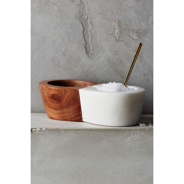 Anthropologie Marbletree Salt Cellar ($34) ❤ liked on Polyvore featuring home, kitchen & dining, neutral and anthropologie