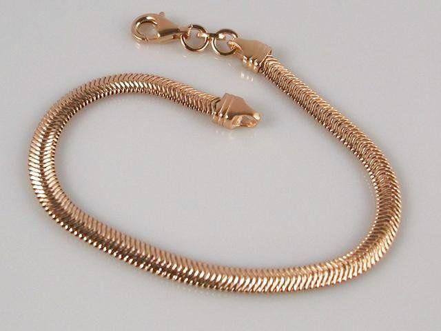 6b024c731327  Pulsera de Plata rosa cola de topo plana. Elegante diseño de Pulsera con  cadena