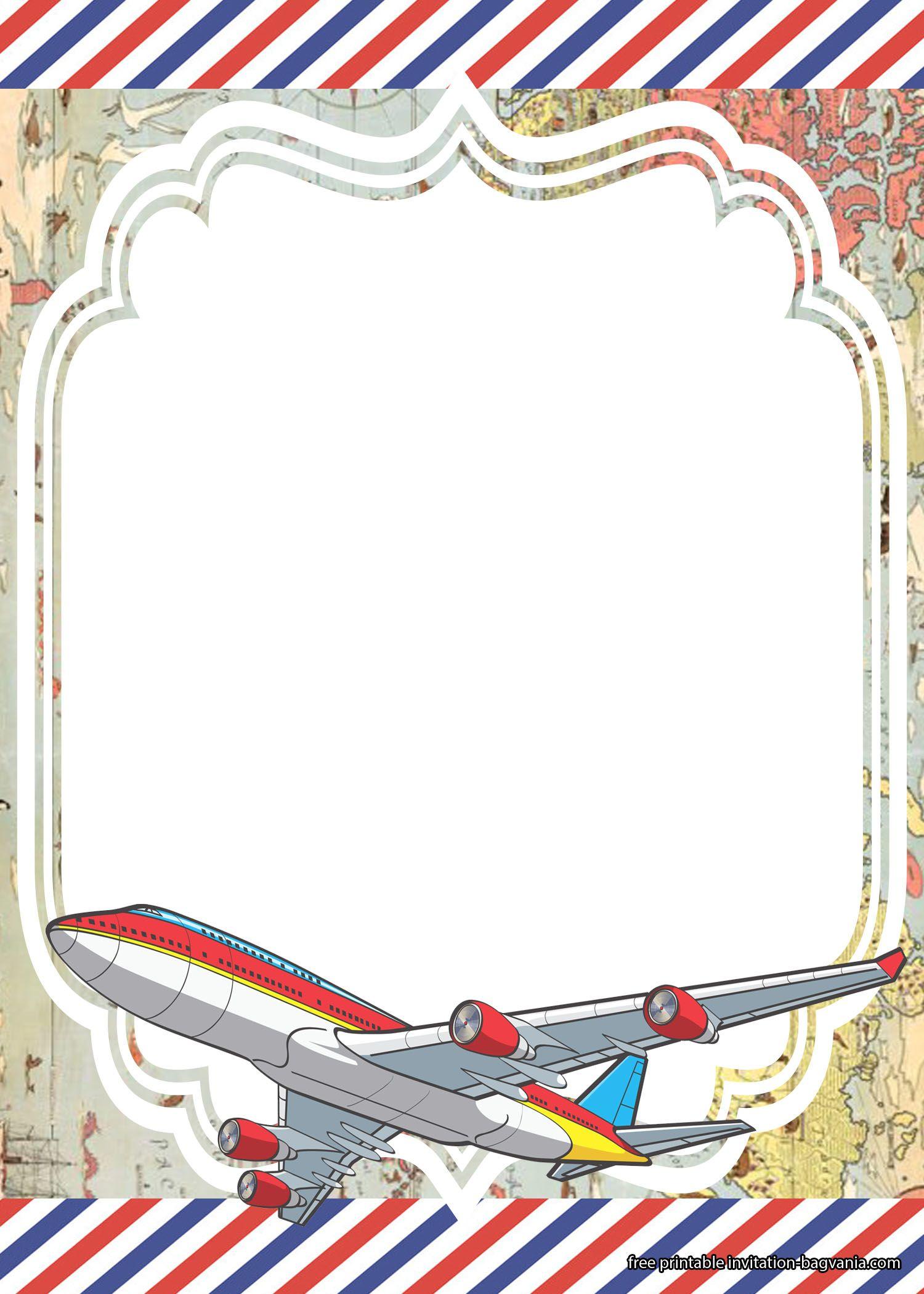 printable airplane invitation templates