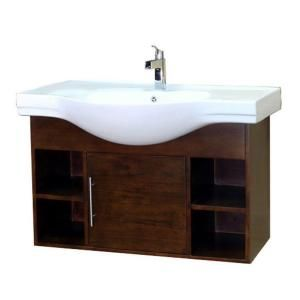 One idea for our powder room: Urban 41 in. Single Vanity in Walnut with Porcelain Vanity Top in White-203132-S at The Home Depot