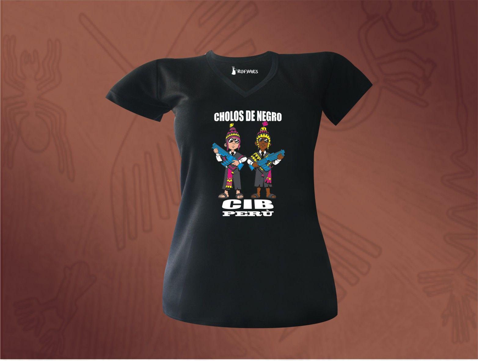Diseño  Cholos de Negro, estampado en polo confeccionado con algodón peruano  100% www.rufyars.com 12efdc310d