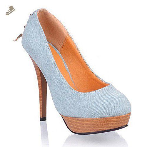 234314421bd60 AdeeSu Ladies Platform Wheeled Heel Shoes Comfort Lightblue ...