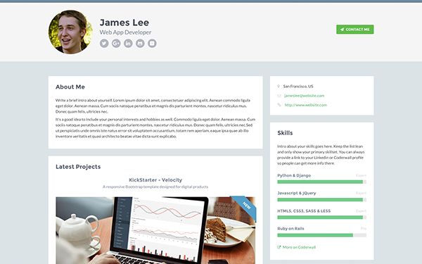 Want A Personal Landing Page To Showcase Your Professional Experience Don T Miss This Free Re Responsive Website Template Portfolio Templates Website Template