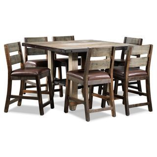 Allison Pine 7-Piece Pub-Height Dining Room Set - Antiqued Pine ...