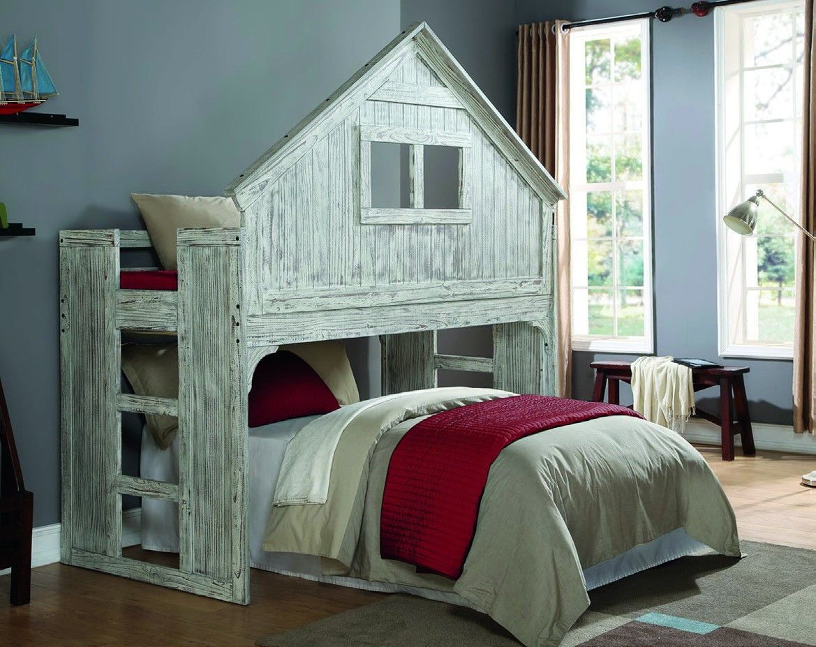 Kids Twin Club House Loft or Bunk Bed - Add Full Bed or Storage Space  Underneath in Home & Garden, Kids & Teens at Home, Furniture, Bedroom  Furniture