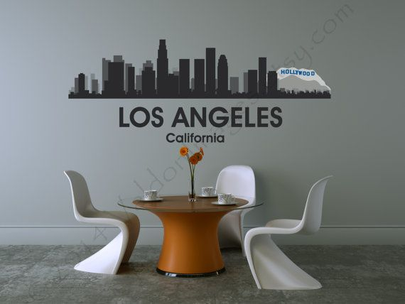 Los angeles skyline cityscape vinyl wall decal home decor wall words sticker wall