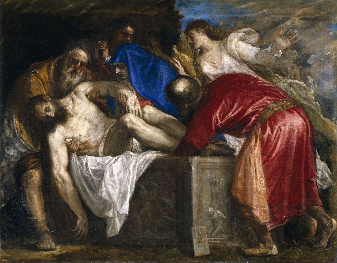 Titian (Tiziano Vecellio), c.1485/90?–1576, Italian, Entombment, 1559. Oil  on canvas, 137 x 175 cm. Museo del Prado, Madrid. High Renaissance.