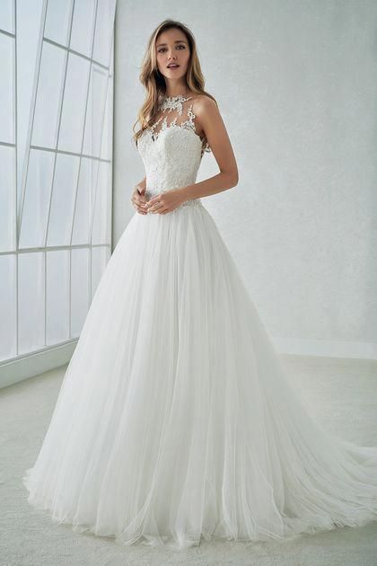 2019 Wedding Dresses Scoop Sweep Train A Line Tulle With Applique Sweep Train US…