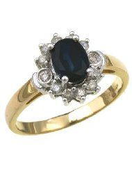 9ct Yellow Gold Diamond and Sapphire Cluster Ladies' Ring Size M