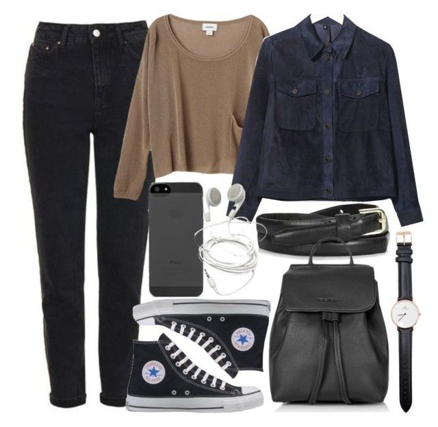 """""""Untitled #5664"""" by rachellouisewilliamson on Polyvore featuring Topshop, Monki, Boutique, Converse and Daniel Wellington"""