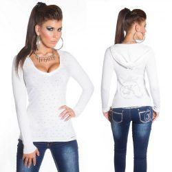 Fehér kapucnis kötött pulóver. Ezt a pint HG Fashion Női Ruha Webáruház ... a4dec2a6dd