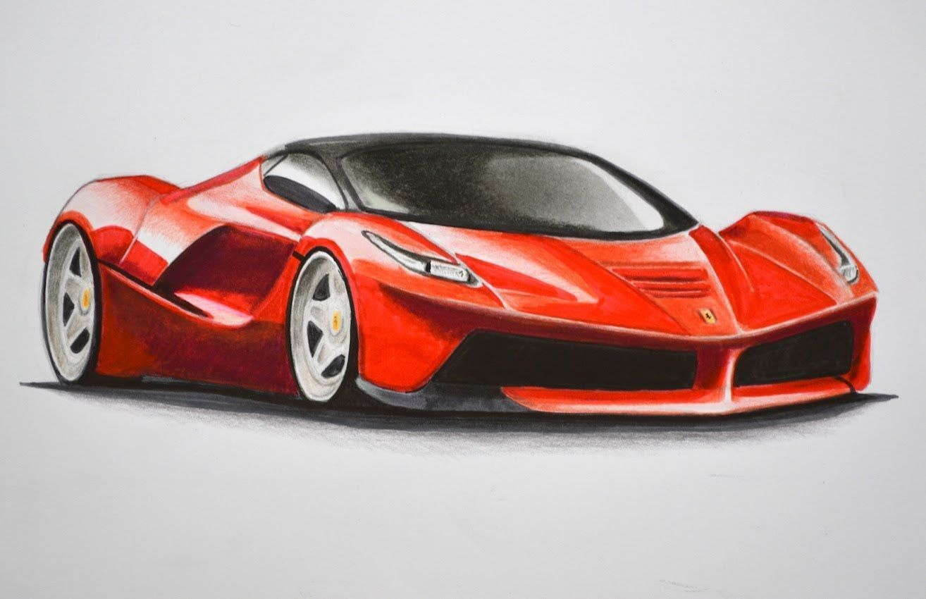 How To Draw A Ferrari With Colors How To Draw A Car Ferrari Drawing How To Draw A Car Cool Car Drawings