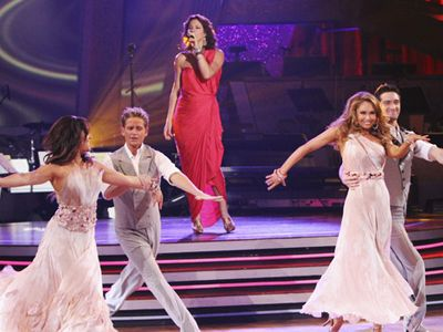 Week 9: Kym Johnson dancing with Dmitry Chaplin, Damian Whitewood and Lacey Schwimmer to Sarah Mclachlan