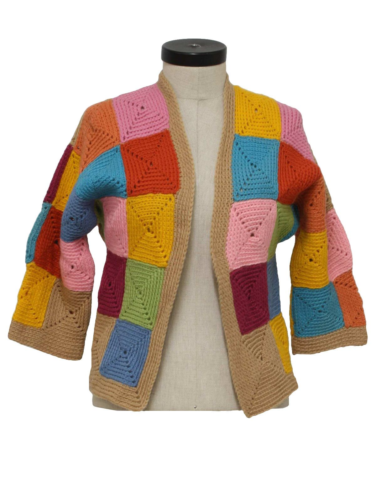 37c904fb8f30 70s -home sewn- Womens or girls multi color acrylic half sleeve open ...