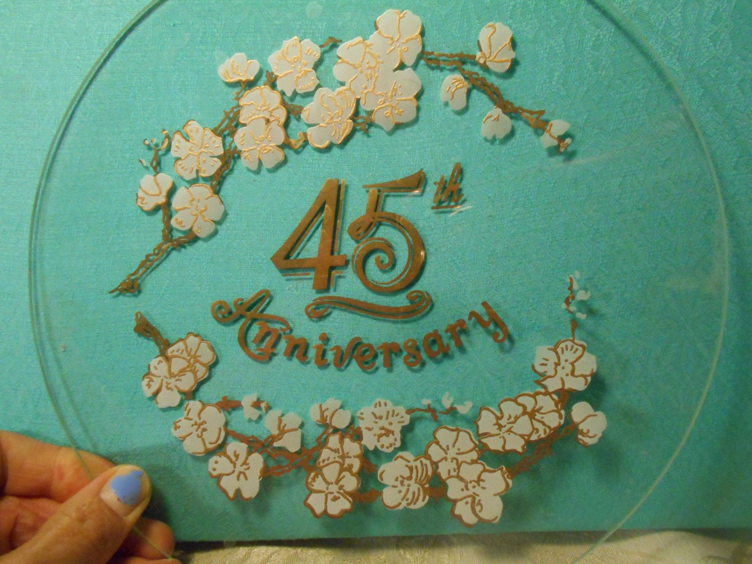 45th anniversary gift plate clear glass white and gold