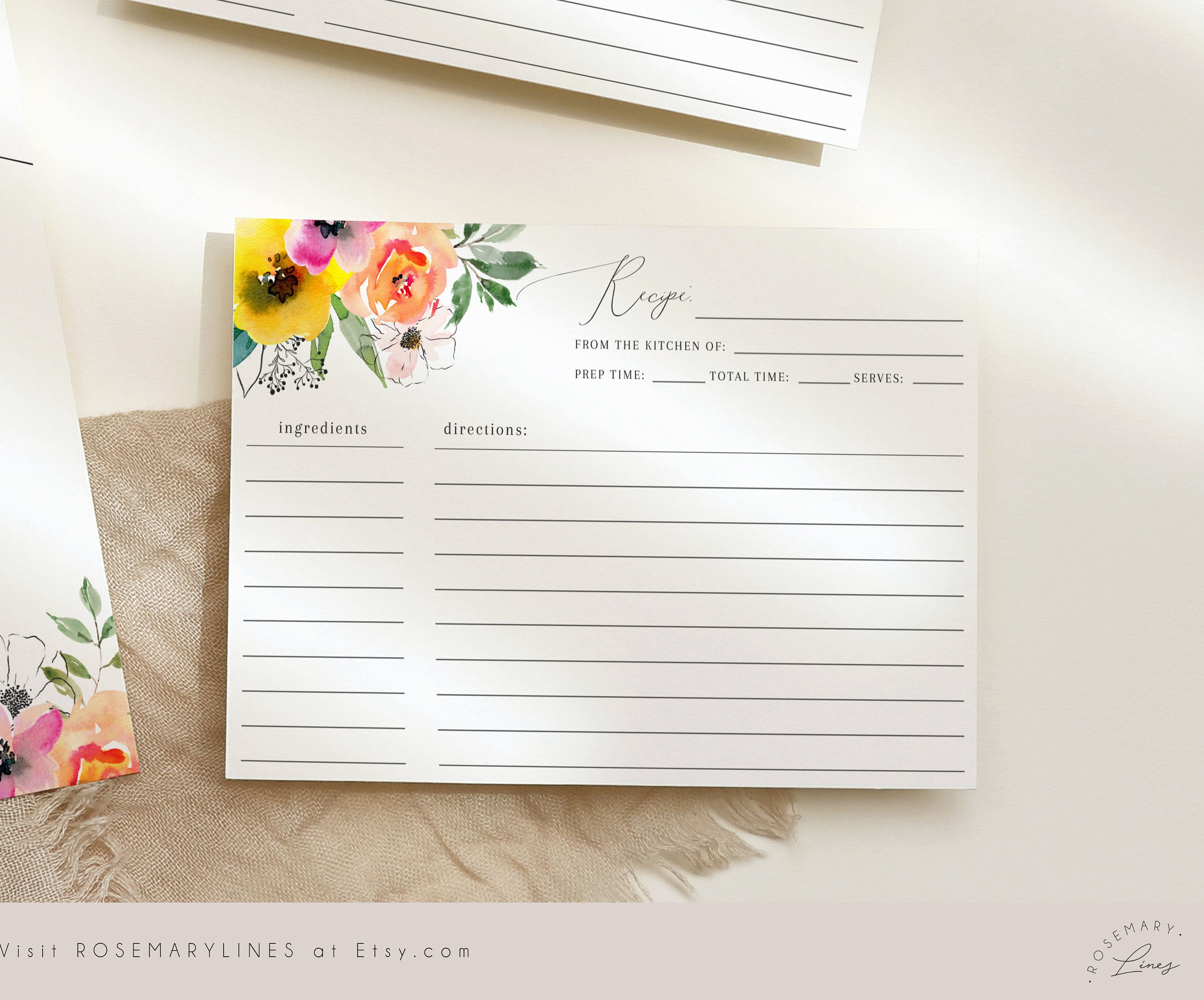 Editable Recipe Card Template Bright Floral Bridal Shower Etsy In 2021 Printable Bridal Shower Games Recipe Cards Template Bridal Shower Recipes Cards