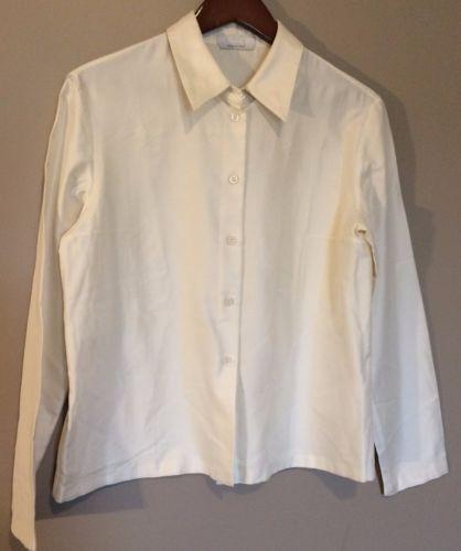 e5e093feaaa6c6 Prada-Womens-Silk-Blouse-Button-Down-Shirt -Long-Sleeve-Top-Collared-White-sz-44