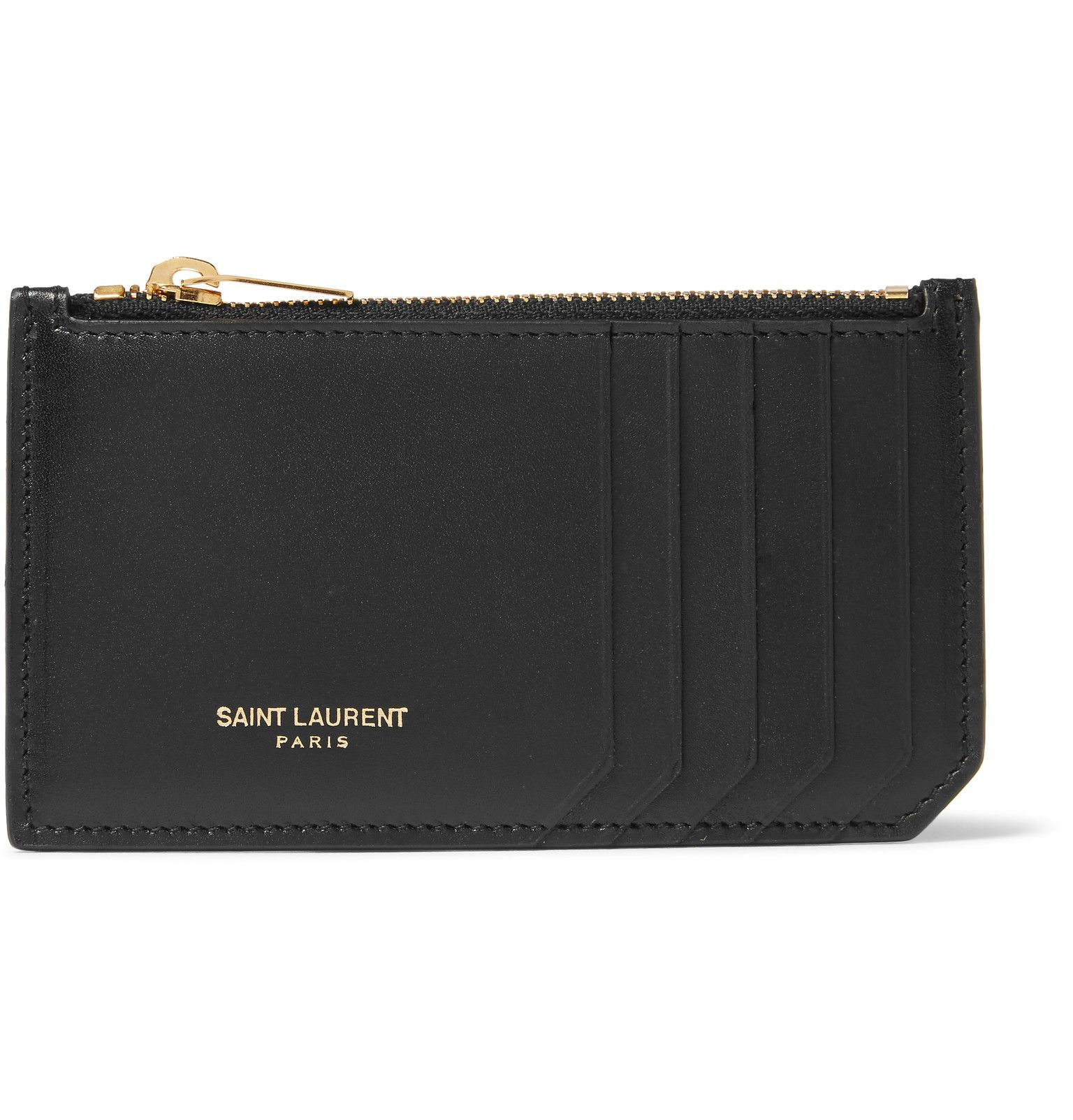 Keep your notes, change and payment essentials neatly stowed with this smart cardholder from Saint Laurent. Made from smooth leather, it's kitted with several slots and a handy zipped compartment for odds and ends.