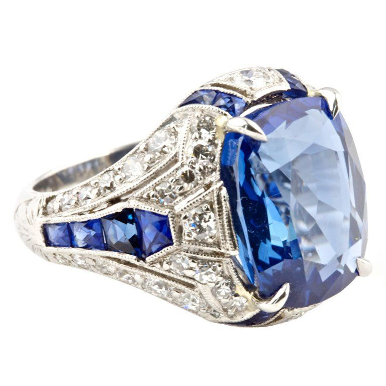 A beautiful art Deco diamond and sapphire ring.