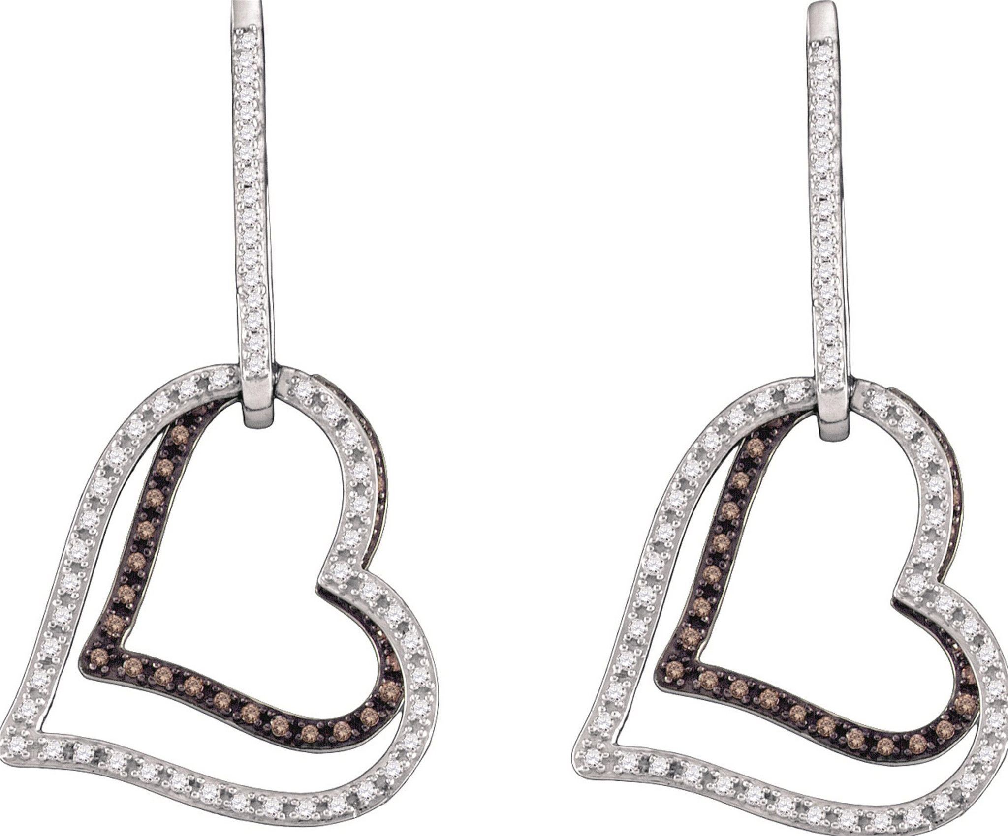 White Diamond 10k White Gold Heart Earrings