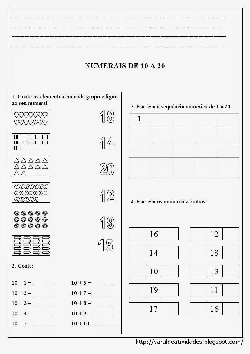 Atividades Com Numerais De 10 A 20 Para Imprimir Atividades De