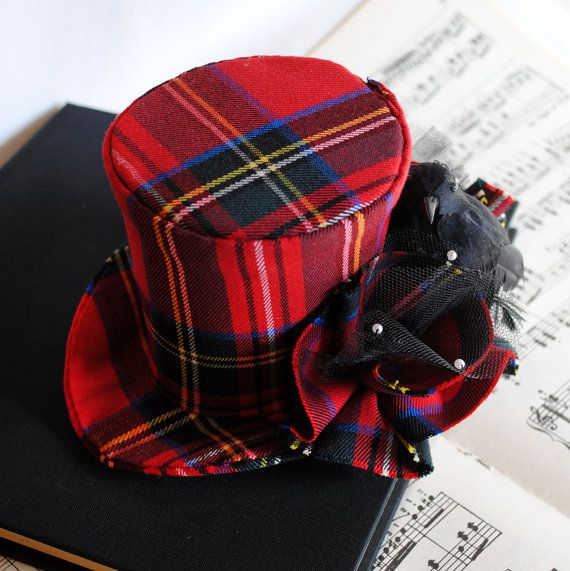 Steampunk Mini Top Hat - Christmas Red Plaid with Miniature Crow - Ready to Ship
