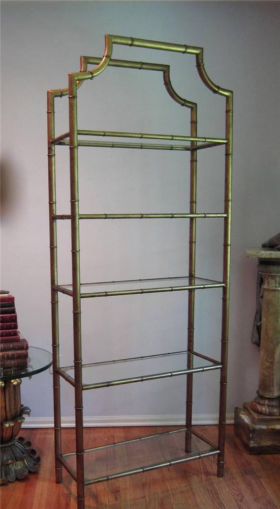 Vintage Mid Century Hollywood Regency Faux BAMBOO Gilt Metal Etagere Shelf  **** Fills Pictures Gallery