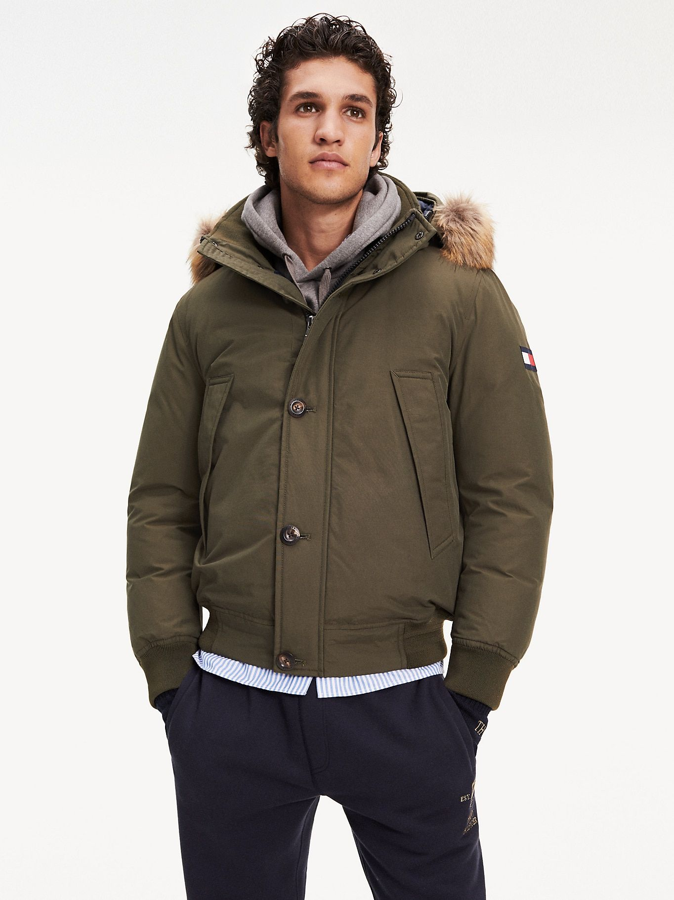 Down Filled Hooded Bomber Jacket Blue Tommy Hilfiger Hooded Bomber Jacket Bomber Jacket Tommy Hilfiger Man [ 1819 x 1364 Pixel ]