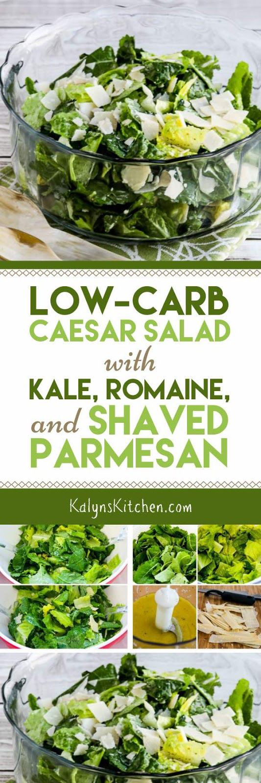 I never get tired of this Low-Carb Caesar Salad with Kale, Romaine, and Shaved Parmesan, and this amazing salad is also Keto, low-glycemic, gluten-free, and can be South Beach Diet friendly if you don