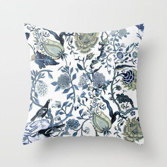 Blue vintage chinoiserie flora Throw Pillow