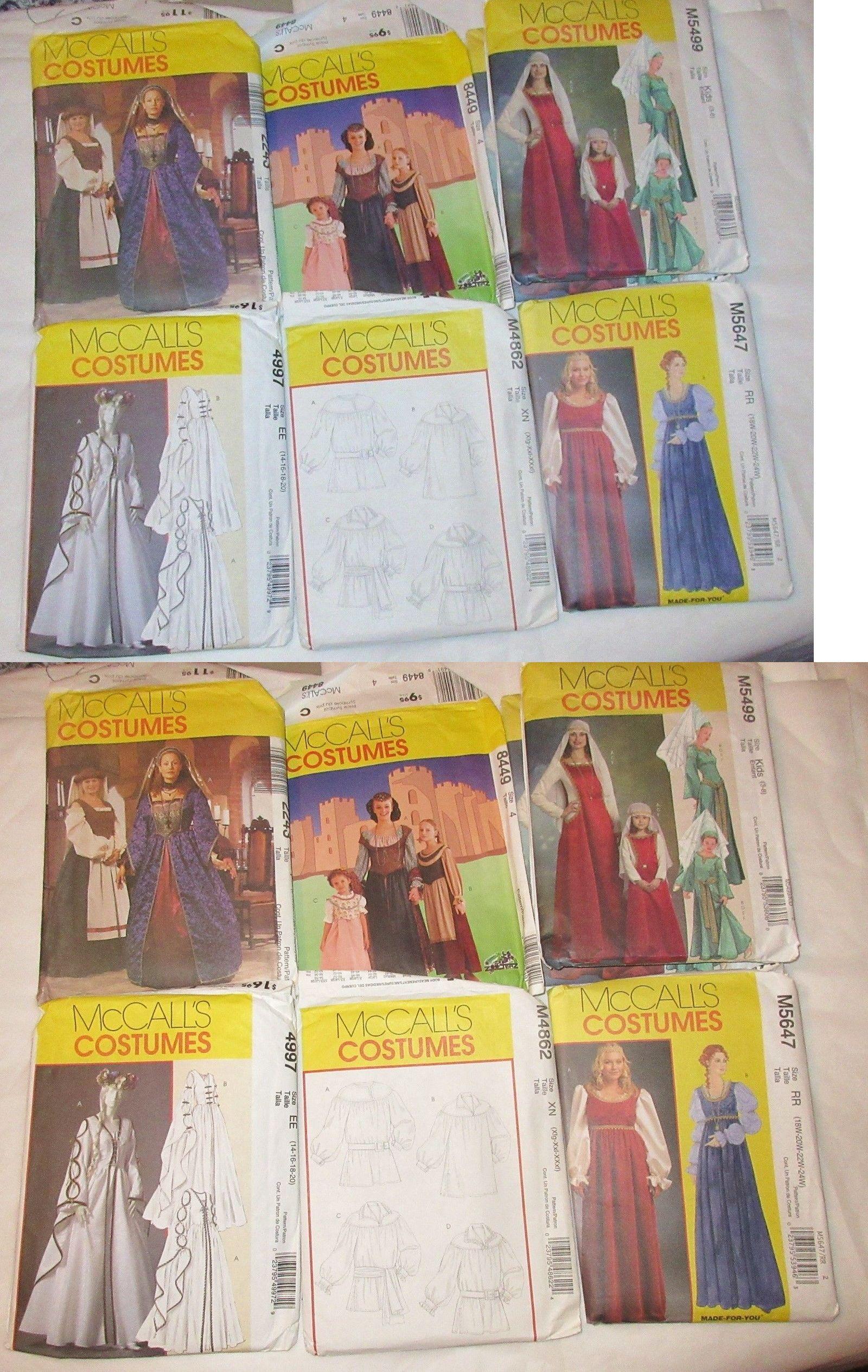 McCalls Pattern Costume Dress Medieval Renaissance Poet ShirtQueen GownPeasant