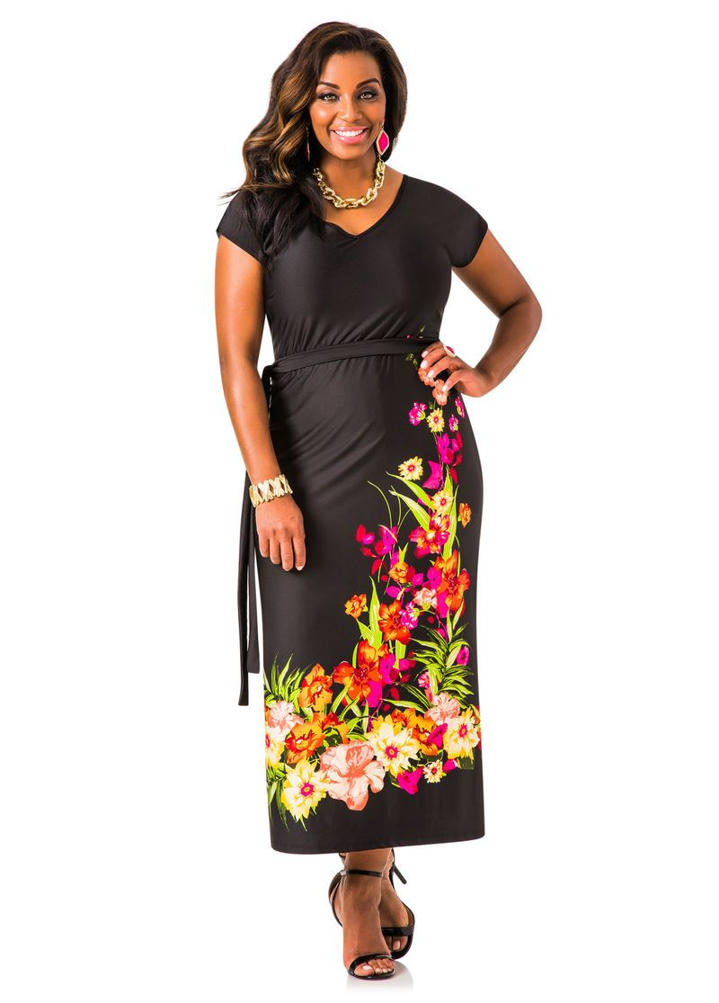 098c95b0a Floral Border V-neck Maxi Dress - Ashley Stewart | Beautiful Things ...