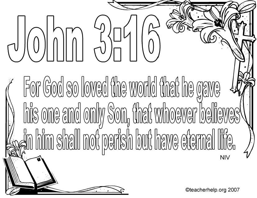 John 3 16 Bible Verse Coloring Page