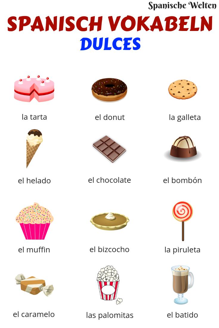 Mit diesen Spanisch Vokabeln kennst du nun auch Süßigkeiten auf Spanisch und kannst beim Naschen deinen Wortschatz erweitern. #SpanischVokabeln #learning