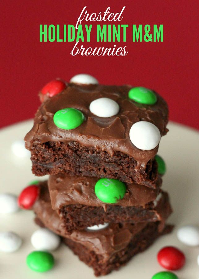 Frosted Holiday Mint M&M Brownies Recipe