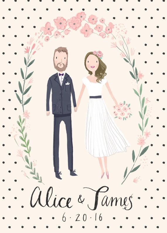 Custom Illustrated Couple Portrait Wedding di ...