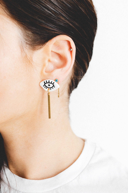 Spark - Winking Eyes Earrings - Light handmade and hand-painted jewelry - 16 carat gold posts titanium nickel free. Boho Bohemian Eye Art,  #art #Bohemian #Boho #carat #earrings #Eye #Eyes #Free #Gold #handmade #handpainted #jewelry #Light #nickel #posts #Spark #titanium #winking #winkingeye