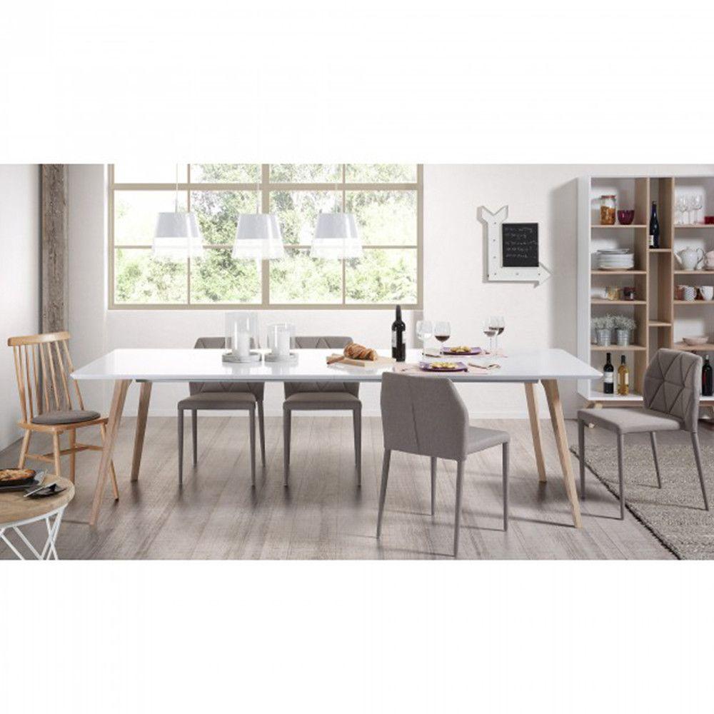 Table Design Scandinave Extensible Bois Blanc Laque Mat Joshua