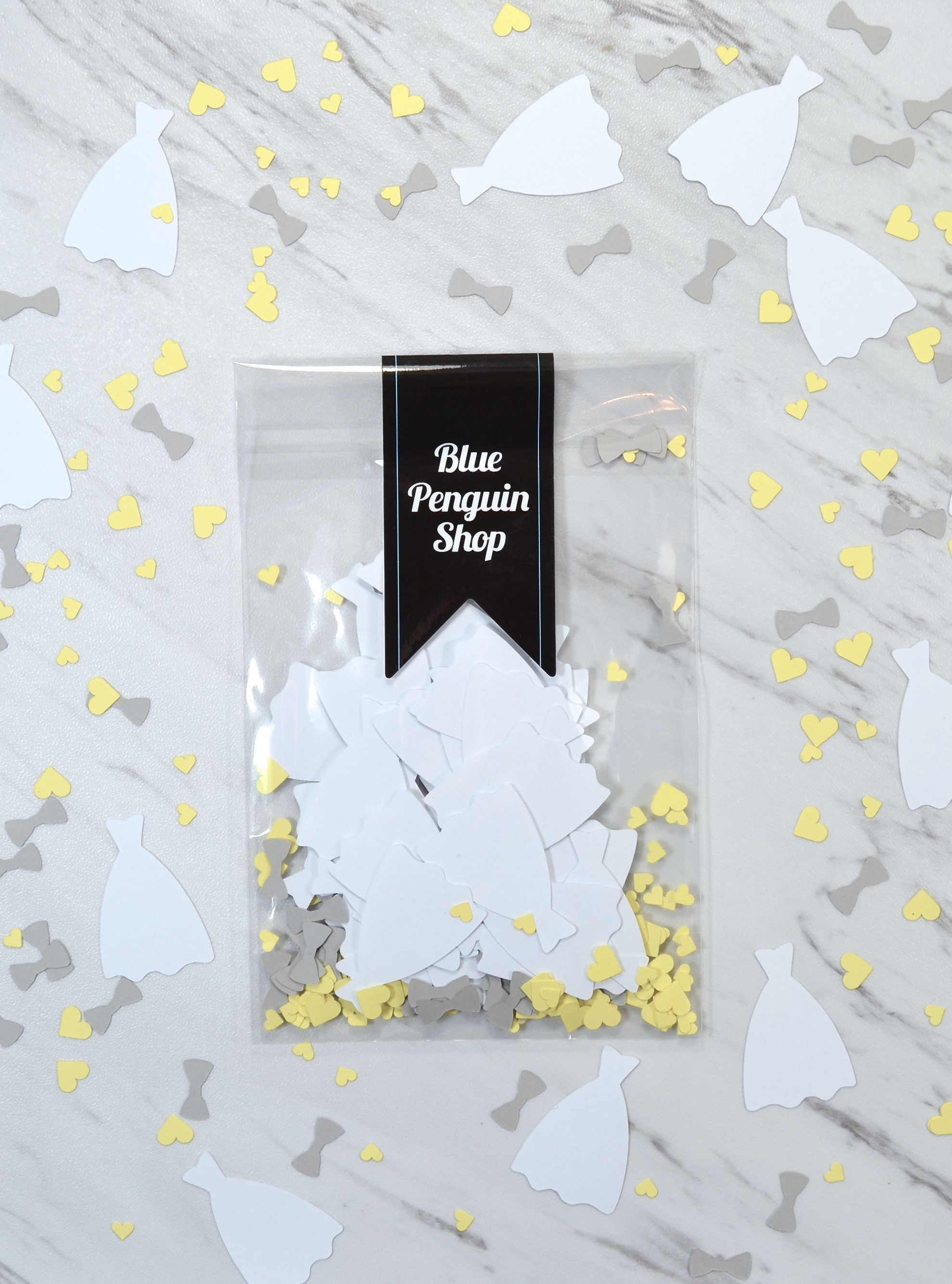 Yellow and gray wedding decoration - paper confetti for the tables ...