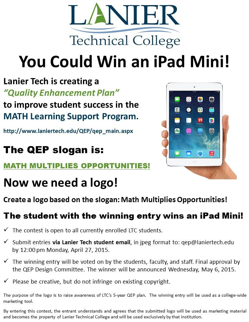 You could win an iPad Mini! Learning support, Student