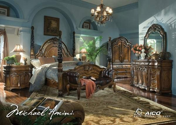 AICO Furniture - Oppulente 5 Piece Queen Poster Bedroom Set in Sienna Spice - 67000QNP-52-5SET