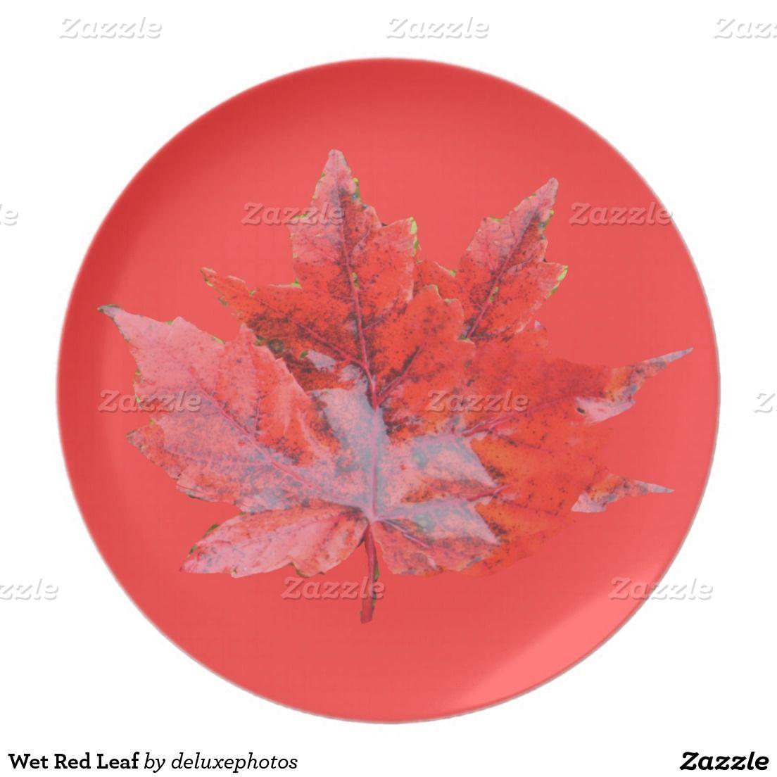 Wet Red Leaf Melamine Plate